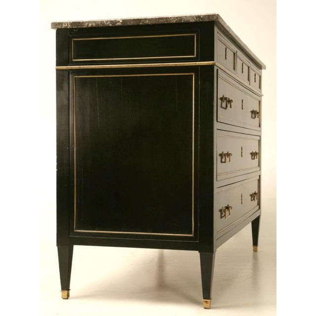 Antique French Louis XVI Ebonized Mahogany & Marble Commode For Sale - Image 10 of 10