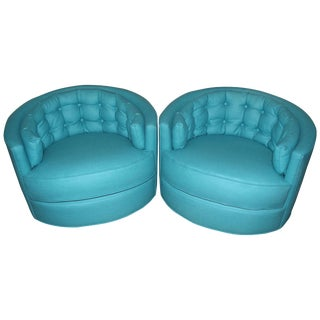 Tufted Swivel Lounge Club Chairs in Turquoise Wool - a Pair For Sale