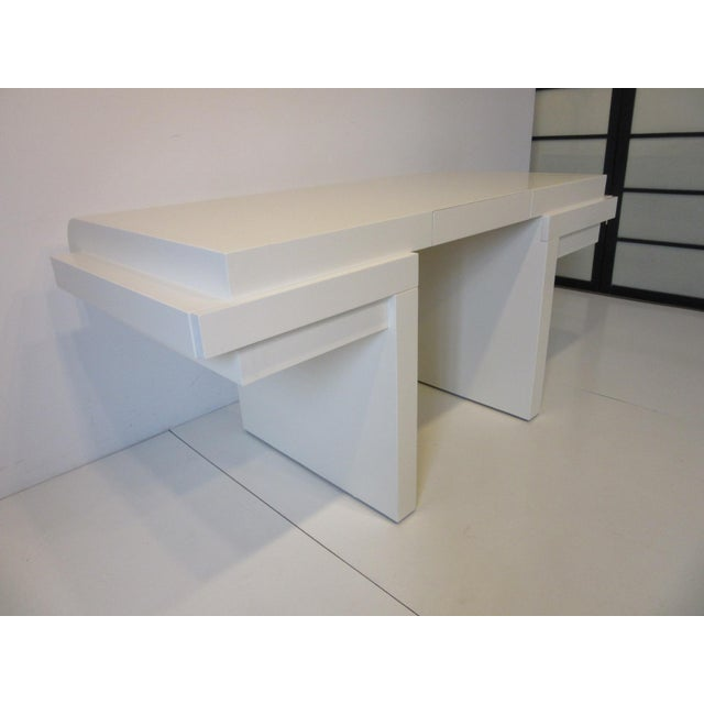 Steve Chase 70's Cream Lacquer Sculptural Desk For Sale - Image 4 of 12
