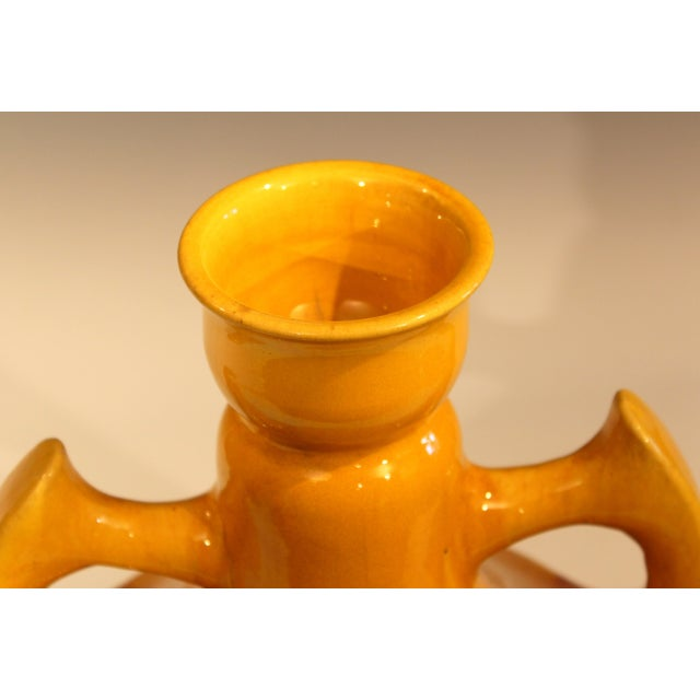 Gold Large Awaji Art Deco Studio Pottery Japanese Wing Handled Golden Yellow Vase For Sale - Image 8 of 11