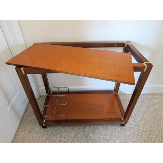 Mid Century Wood & Brass Bar Cart - Image 7 of 10