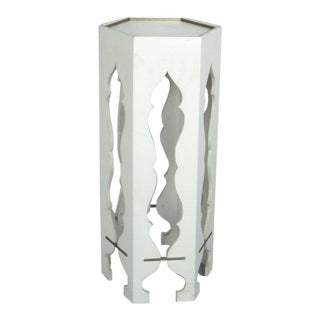 White Lacquer Brass Trim Pedestal Side Table Style of Tommi Parzinger For Sale