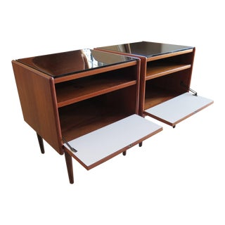 Borge Mogensen Danish Modern Teak and White Laminate Night Stands - a Pair For Sale