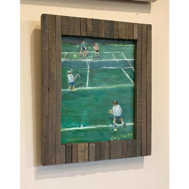 "Green ""The Tennis Game"" Original Oil Painting Framed Painting by Nancy T Van Ness For Sale - Image 8 of 13"