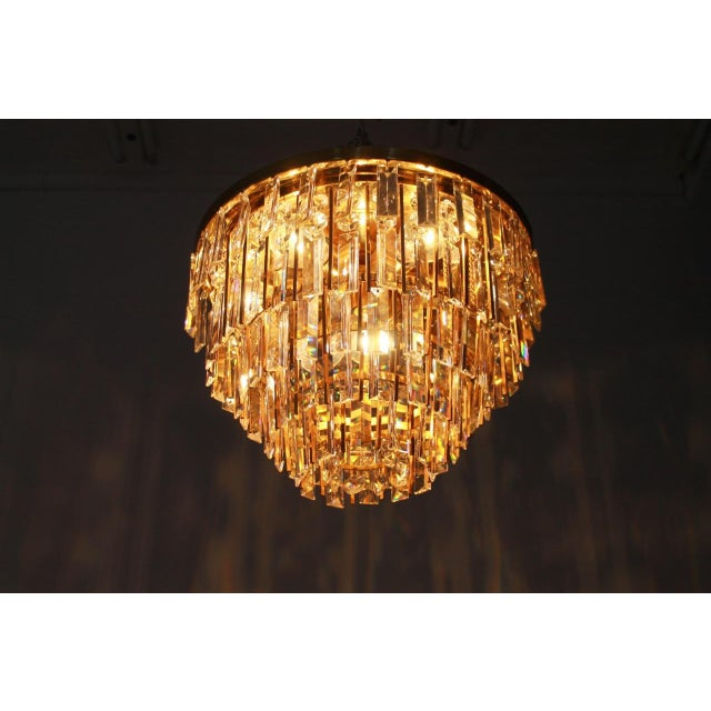 Pair of Crystal Glass Flush Mount Chandelier by Palwa, Germany, 1970s For Sale - Image 11 of 11