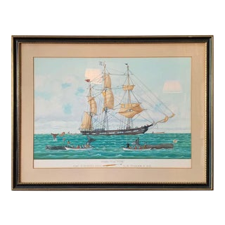 Large Watercolor Painting of a Nantucket Whaling Ship For Sale