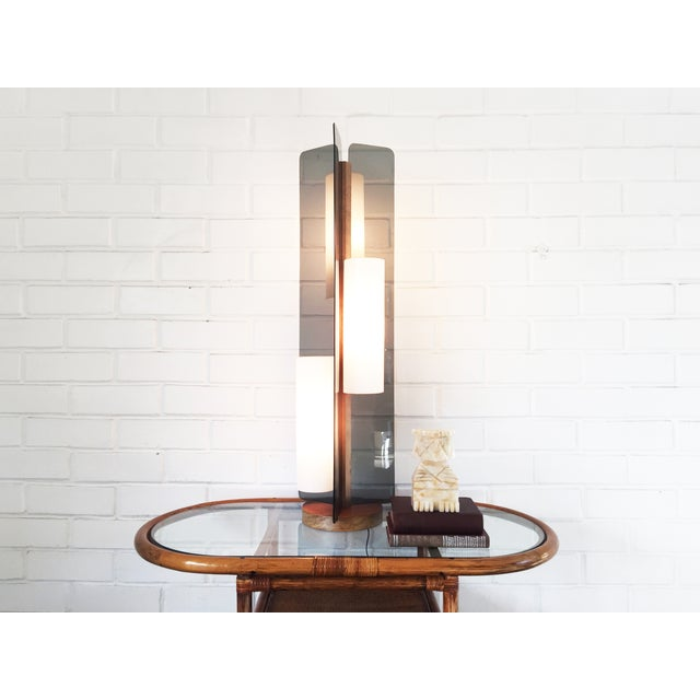 Mid Century Triple Way Wood and Grey Lamp - Image 3 of 6