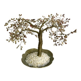 Asian Natural Stone Brass Wire Tree For Sale