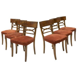Set of 6 Charles X Style Carved Walnut Dining Chairs For Sale
