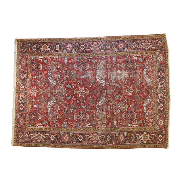 "Vintage Heriz Carpet- 7'6"" X 10' For Sale"
