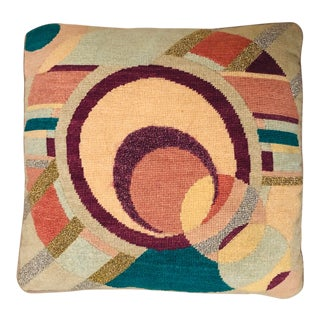 Abstract Memphis Style Square Needlepoint Pillow For Sale
