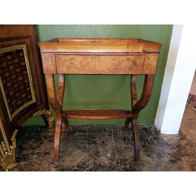 18c French Provincial Burl Walnut Lyre Work Table For Sale In Dallas - Image 6 of 13