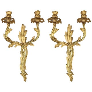 Mid 19th Century Louis XV Style Gilt Bronze Sconces - a Pair For Sale