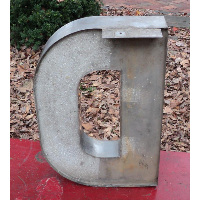 """Antique Industrial Stainless Steel Metal Letter """"D"""" - Image 5 of 5"""