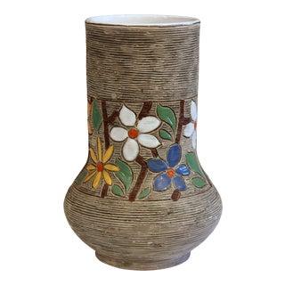 Vintage Italian Art Pottery Textured Incised Blossom Raymor Vase For Sale