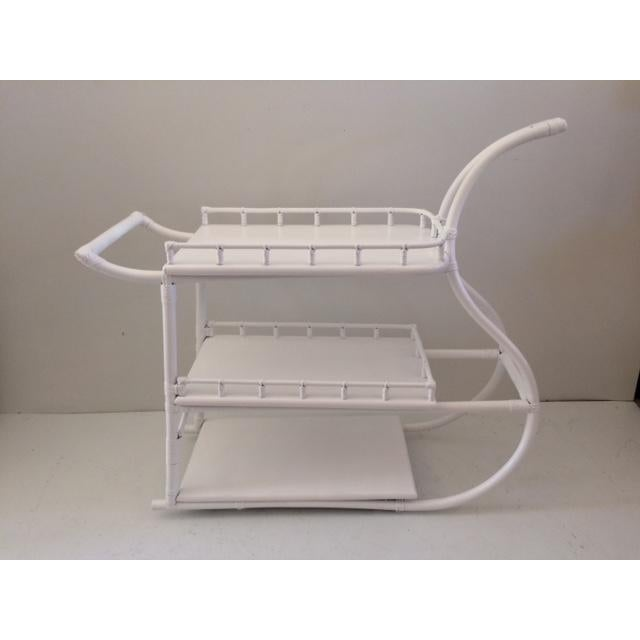 1970s Regency White Rattan Regency Bar Cart For Sale - Image 13 of 13