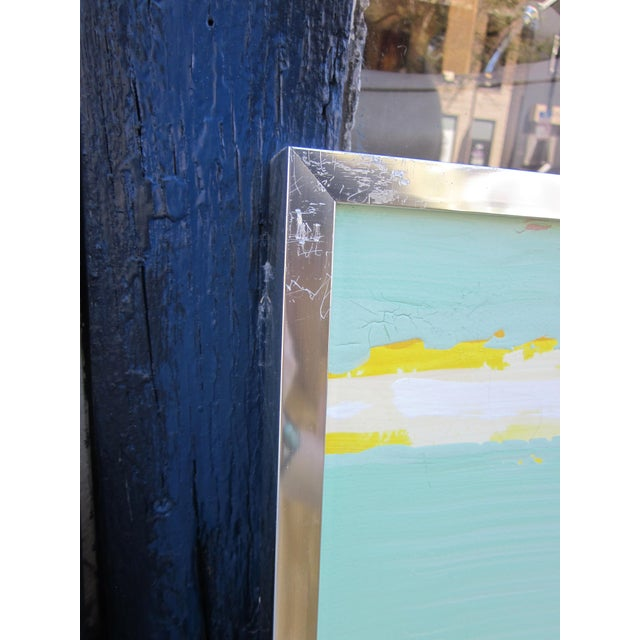 1980s Vintage Four Panel Abstract Geometric Seaside Pastel Horizontal Line Paintings - Set of 2 For Sale In Chicago - Image 6 of 12