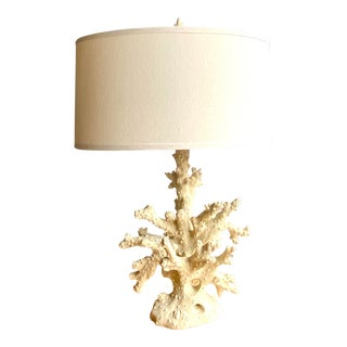 Coastal Faux Coral Branch Table Lamp For Sale