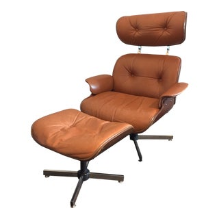 Vintage Eames Style Chair & Ottoman - a Pair