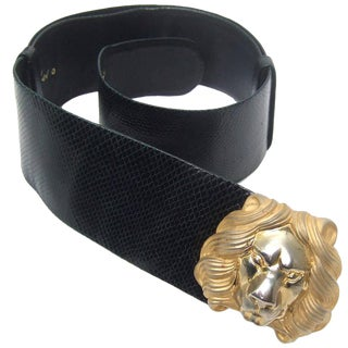 Judith Leiber Lion Buckle Black Embossed Leather Belt For Sale