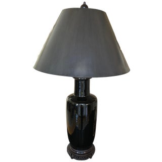 Asian Style Elegant Antique Black Table Lamp For Sale