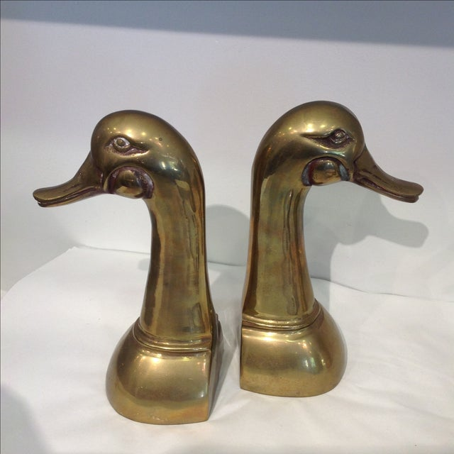 Tall Brass Duck Bookends - A Pair - Image 2 of 6