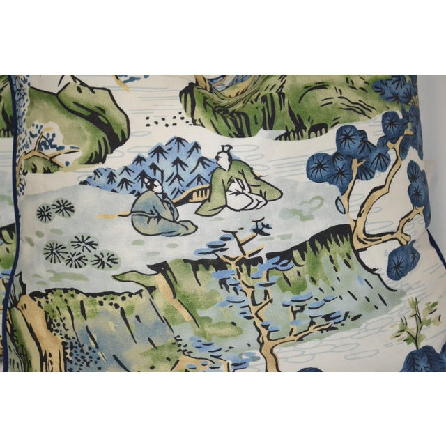 Thibaut Printed Navy Blue With White Canvas Solid Back Pillow For Sale In New York - Image 6 of 8