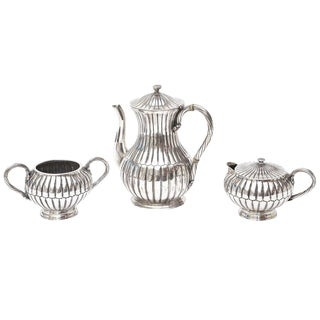 Signed Sterling Silver Hallmarked Sanborn Tea and Coffee Service - Set of Three For Sale
