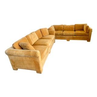 Pair of Matching Mid-Century Modern Century Furniture Orange Velvet Sofas For Sale