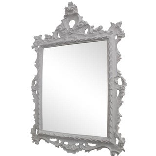 White Baroque Mirror For Sale