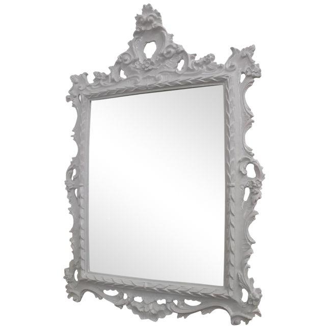 White Baroque Mirror For Sale