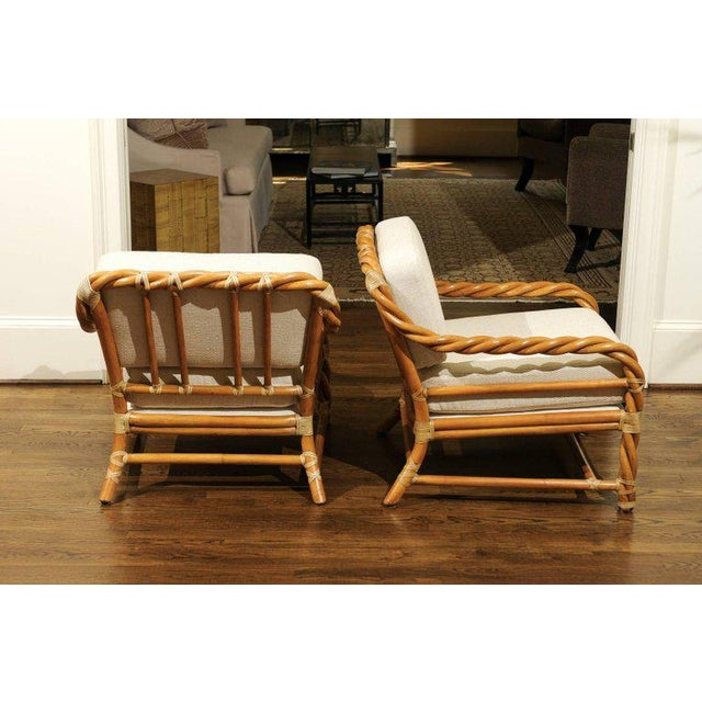 Boho Chic 1980s Pair of Restored Braided Rattan Loungers by McGuire For Sale - Image 3 of 11