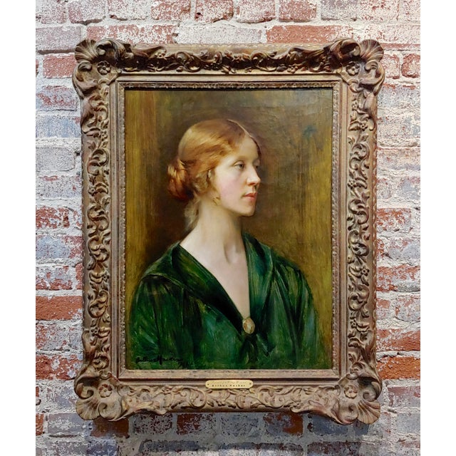 Arthur Hacker 1918 Portrait of a Sophisticated Red Haired Lady - Oil Painting For Sale - Image 11 of 11