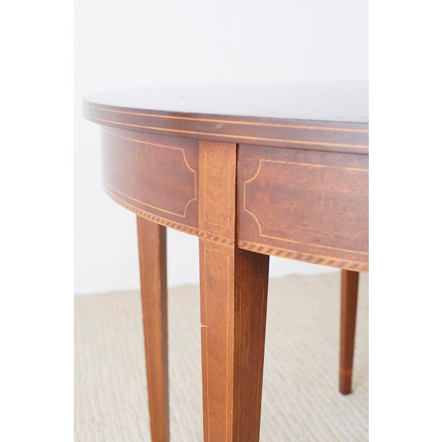 American Hepplewhite Style Demilune Console Tables - a Pair For Sale - Image 9 of 13