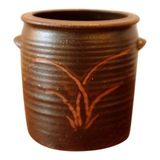 Vintage Studio Pottery Vessel W/ Hand Painted Plant Motif For Sale