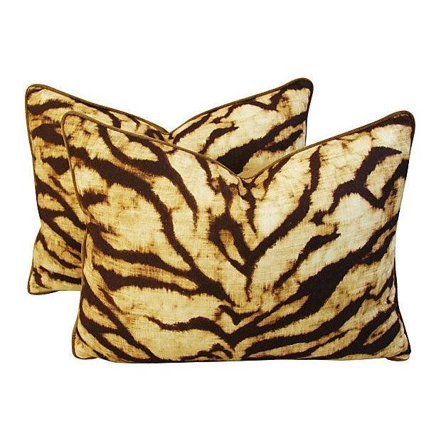 Schumacher Tiger Linen & Velvet Pillows - A Pair - Image 1 of 7