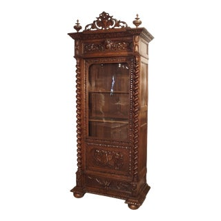 Antique French Oak Vitrine With Musical Carvings and Turned Columns, Circa 1890 For Sale