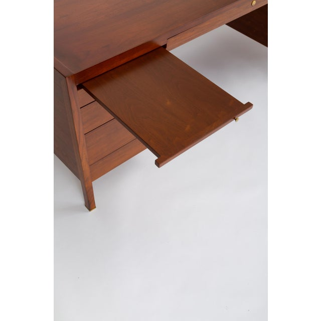 Edward Wormley for Dunbar Walnut Executive Desk With Rosewood and Brass Details For Sale - Image 10 of 13