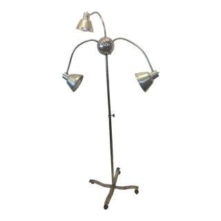 1950s Industrial 3 Arm Chrome Floor Lamp