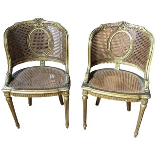 19th Century Louis XVI Giltwood and Caned Armchairs - a Pair For Sale