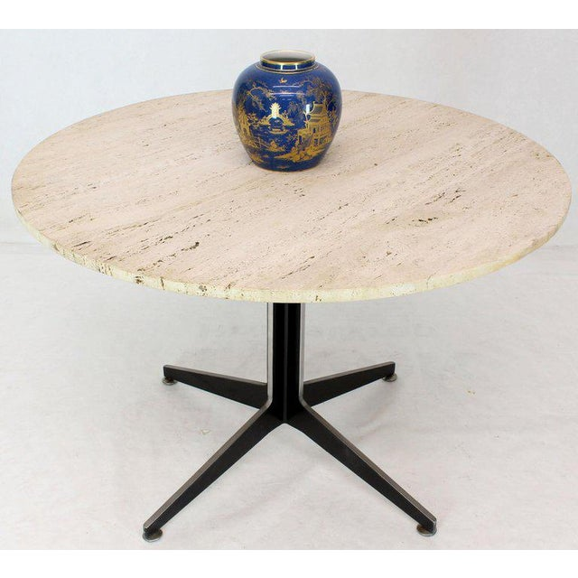 Mid-Century Modern round travertine top aluminium fabricated pedestal cafe dining gueridon table. Fabricated aluminium...