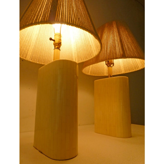 Karl Springer Tessellated Bone Lamps With Original Rope Shades - A Pair For Sale - Image 4 of 11
