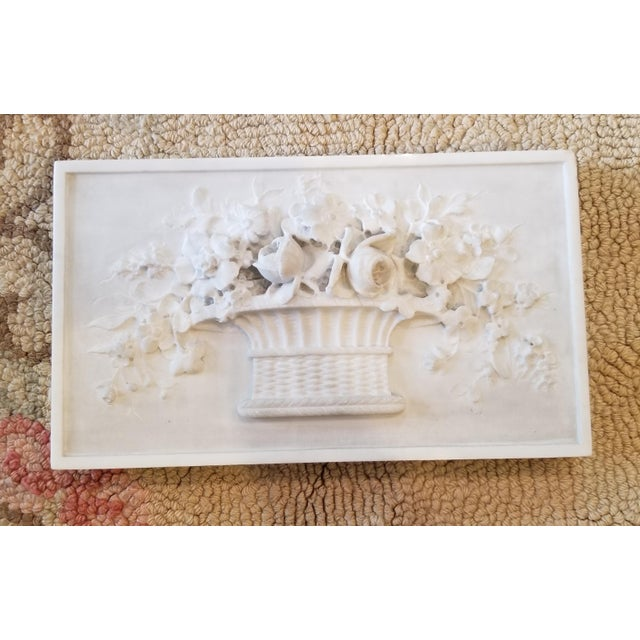 White Carved Marble Floral Basket Panel For Sale - Image 8 of 8