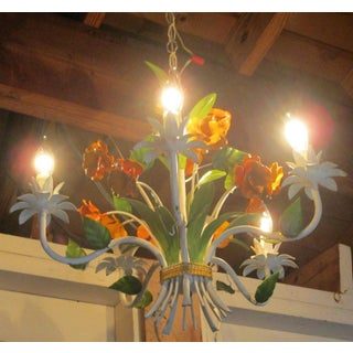 Vintage Enamel Tole Chandelier With Flowers Preview
