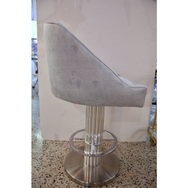 "Art Deco Art Deco Revival ""Machine Age"" Memory Swivel Chrome Bar Stools - a Pair For Sale - Image 3 of 6"