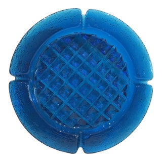 Mid Century Modern Blenko Glass Waffle Ashtray For Sale