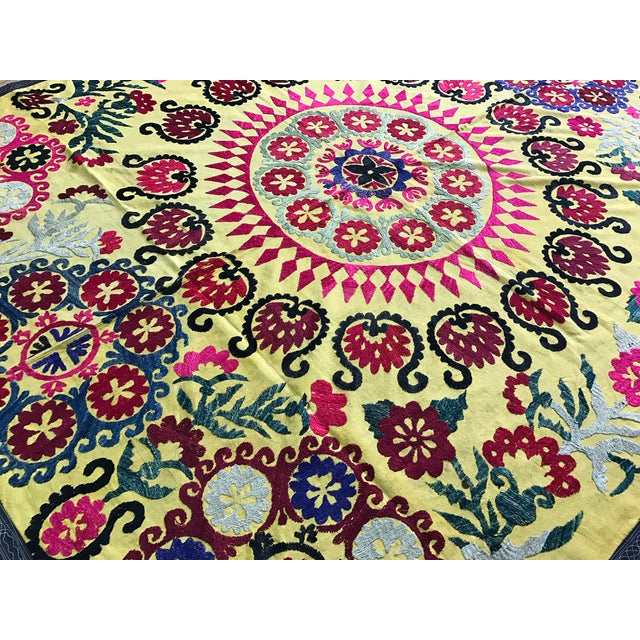 COLORFUL SUZANI FABRIC with BIRDs in YELLOW. Handmade Bedspread - Table Cover - Wall Hanging. * size is 6.1 FEET x 5.2...