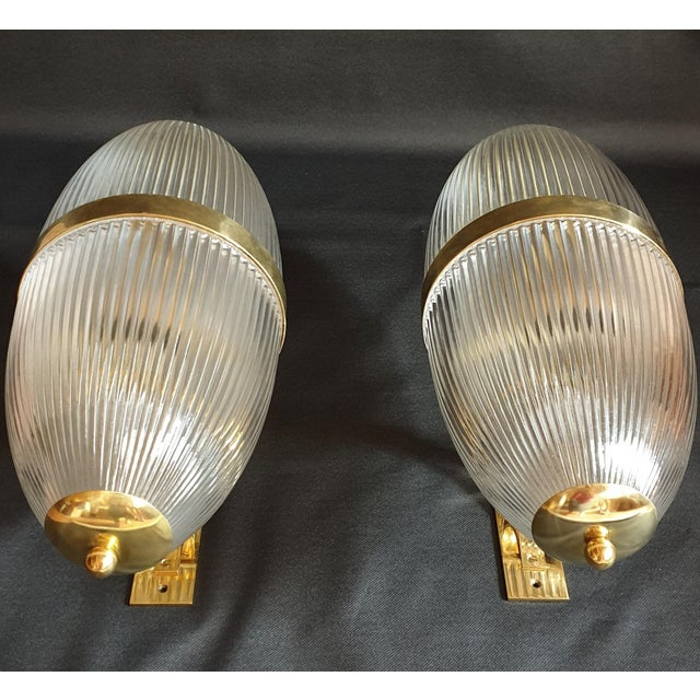 Brass Large Mid-Century Modern Clear Glass & Brass Italian Sconces or Lanterns - a Pair For Sale - Image 7 of 12