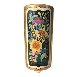 Antique Art Deco Gold & Floral 3-Sided Vase For Sale
