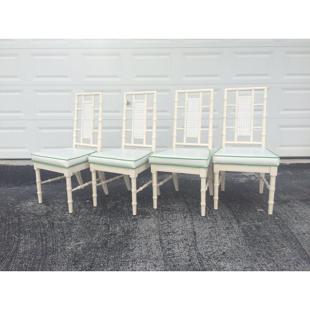 Faux Bamboo Dining Chairs With Cane Back - S/4 - Image 3 of 9